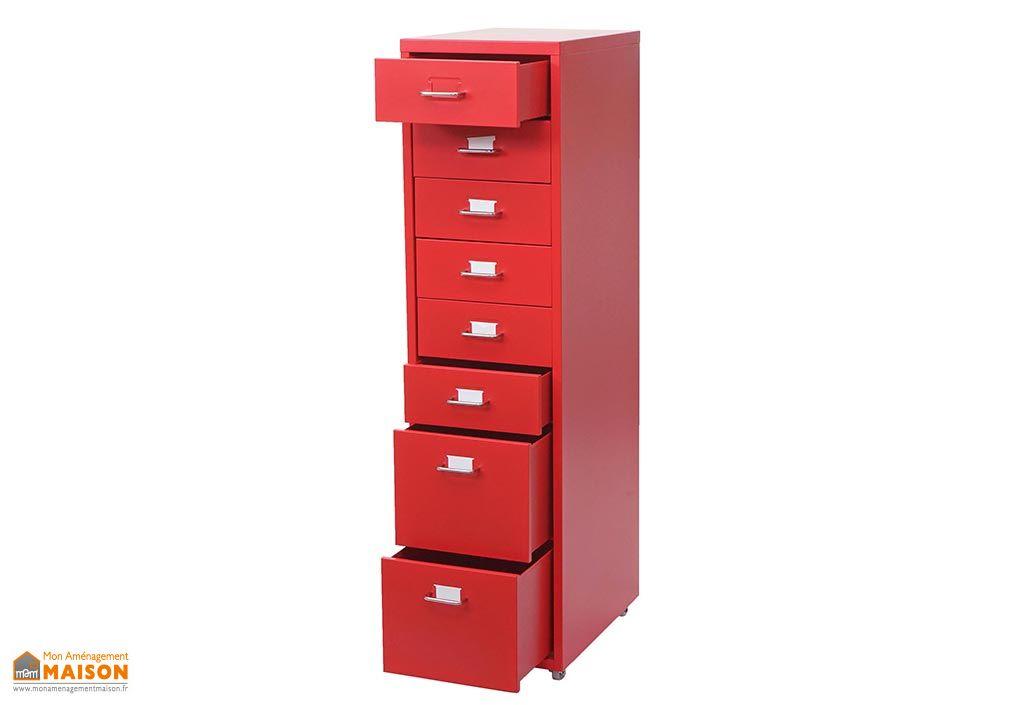Caisson de bureau en métal 8 tiroirs Hetute-Wohnen Boston rouge