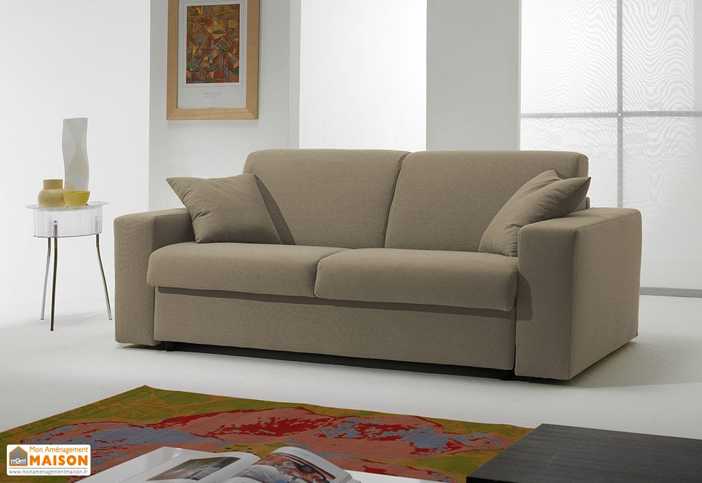 Canapé Convertible Cuir Véritable 2Pl. Mary 180x100/210x85cm (l,l)