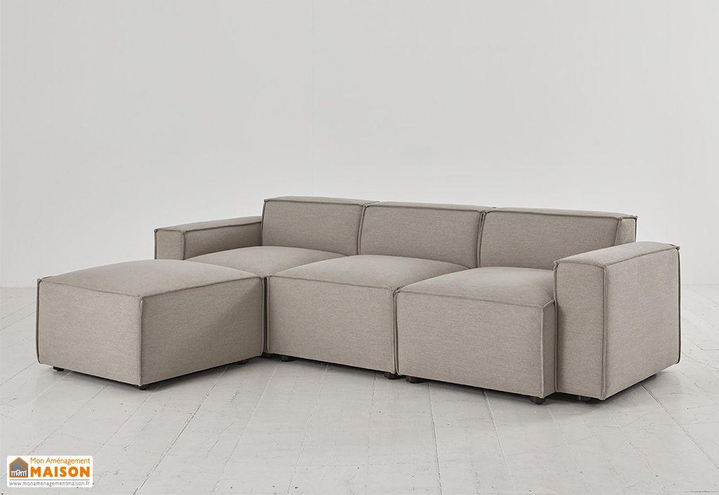 Canapé modulable 3 places en tissu beige Pumice Swyft Home