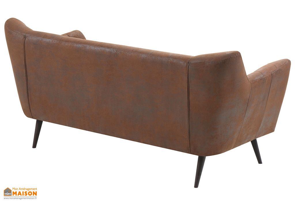 canap scandinave bois et tissu effet cuir vieilli gaspard 185 cm remarquable. Black Bedroom Furniture Sets. Home Design Ideas