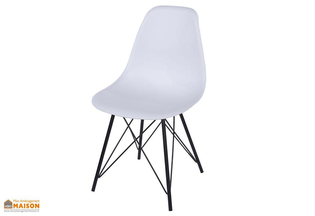 Chaise en Polypropylène et Métal Design Vicenza Asti Blanc