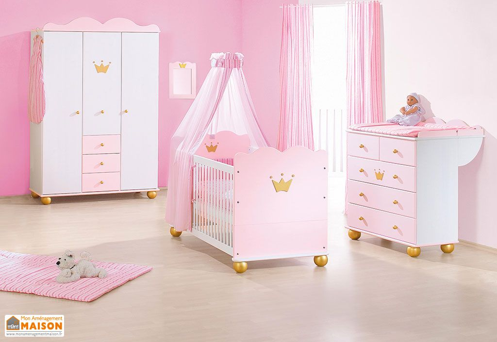 Chambre de b b en pic a massif blanc rose et or princesse pinolino for Chambre bebe en bois massif