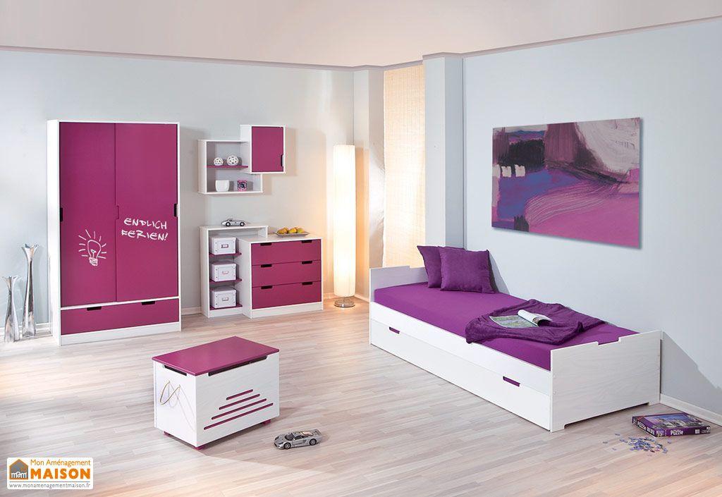 chambre d 39 enfant kidz magenta lit armoire commode meuble suspendu furnitures trends. Black Bedroom Furniture Sets. Home Design Ideas