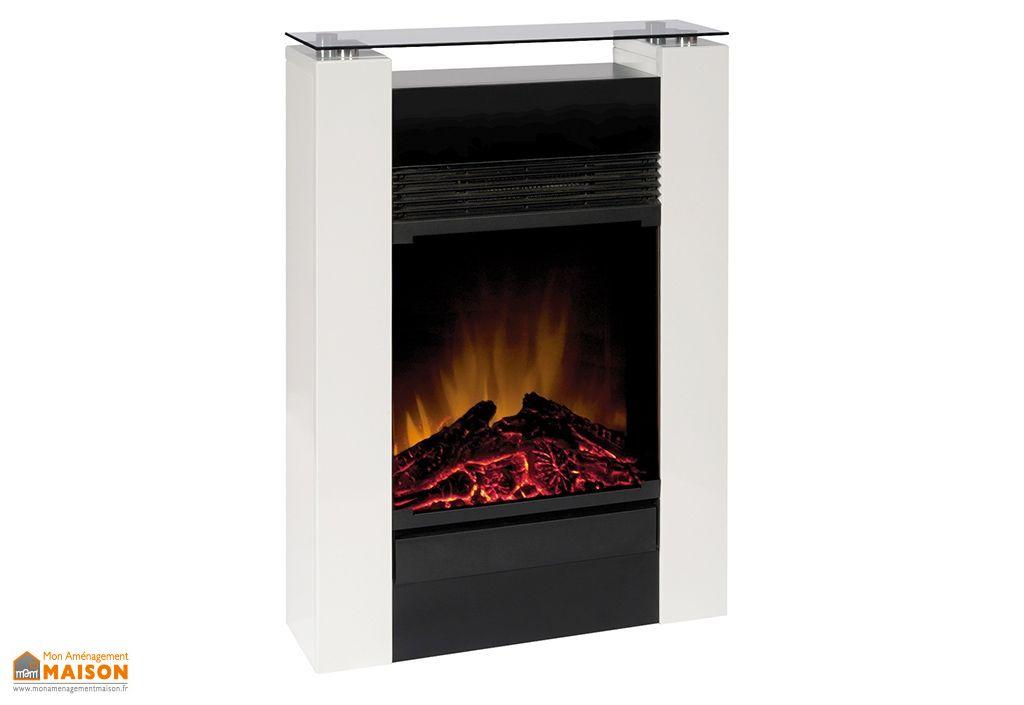 chemin e electrique d corative gisella blanche h 80 cm dimplex. Black Bedroom Furniture Sets. Home Design Ideas