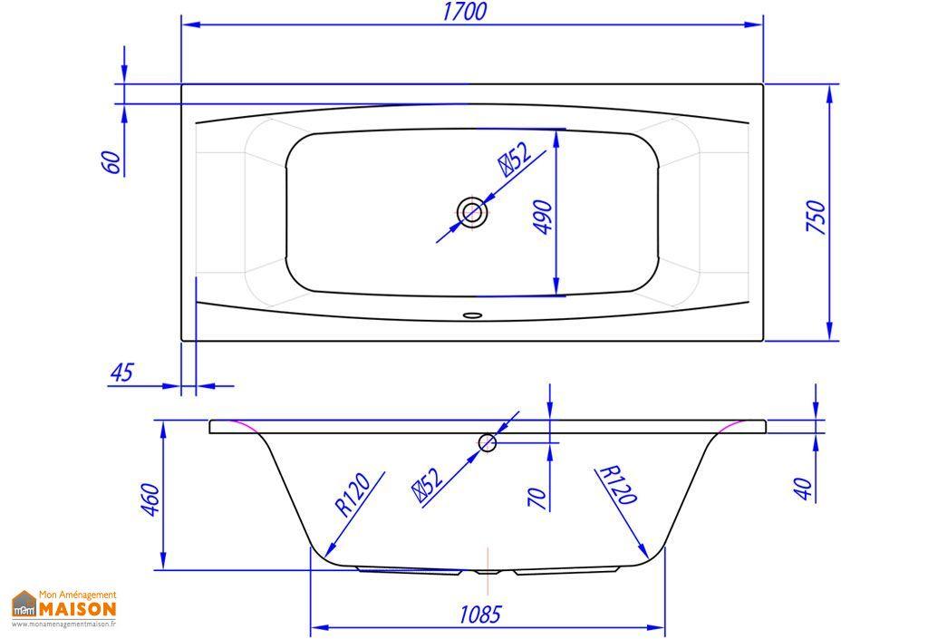 Baignoire rectangulaire acrylique aida 160x75 170x75 for Dimension baignoire rectangulaire