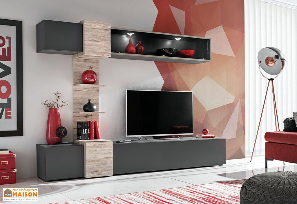 meuble tv design mural en Bois et PVC RIO ASM