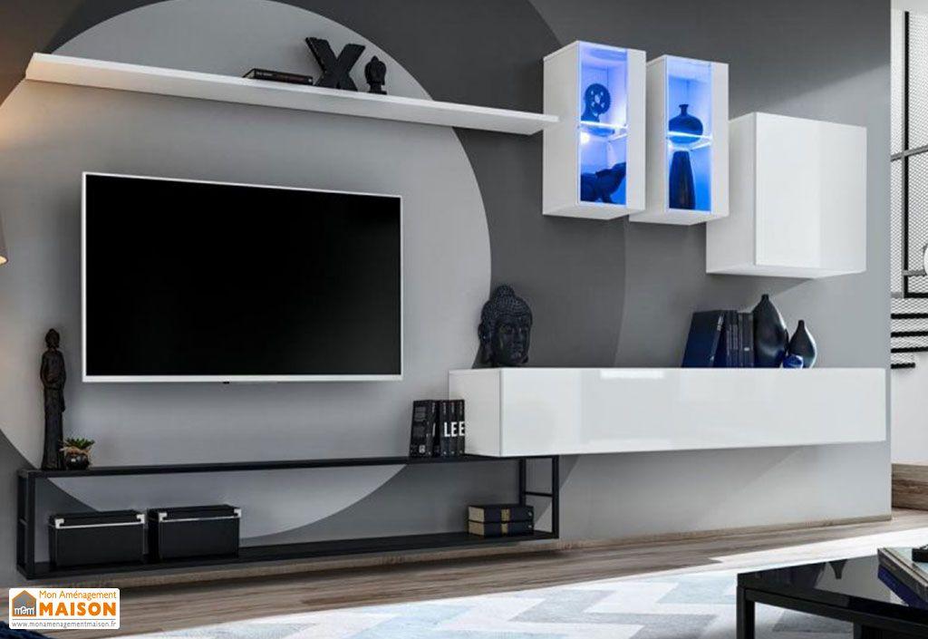 Ensemble meuble TV mural avec placards et vitrines ASM Switch blanc
