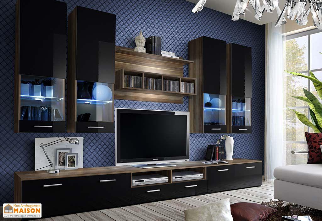 Ensemble meuble TV en bois et vitrines murales meubles de salon ASM Dorade