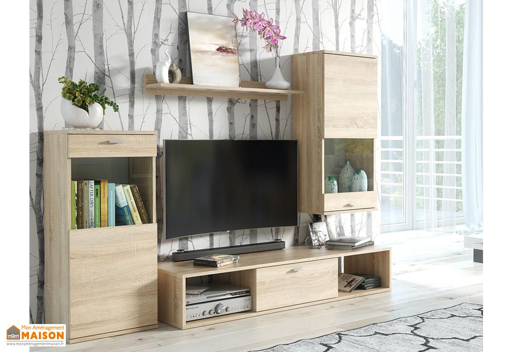 Ensemble meuble TV en bois avec vitrines ASM Rico