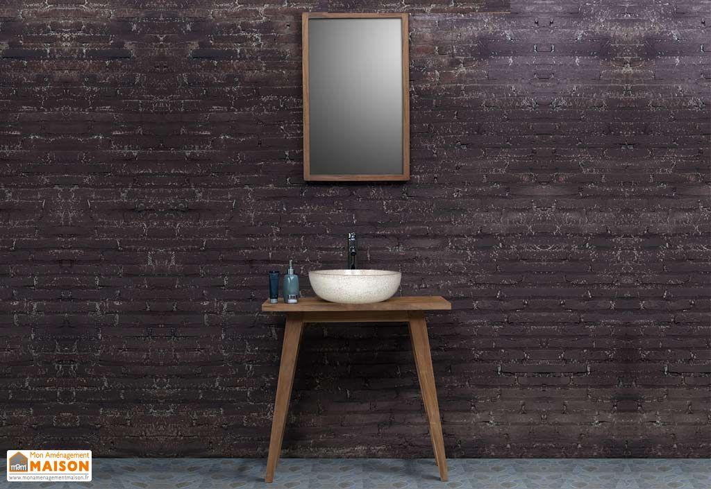 Meuble de salle de bain en teck sur pieds avec vasque for Meuble vasque salle de bain avec miroir