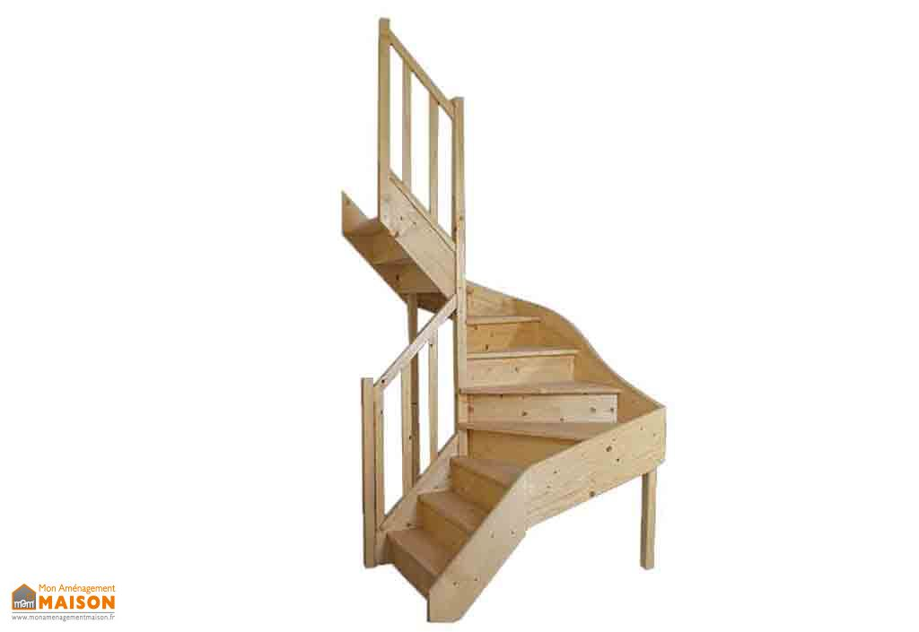 Escalier Double Quart Tournant en Sapin