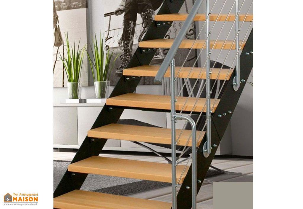 escalier droit en m tal et bois r glable rampe greenwich