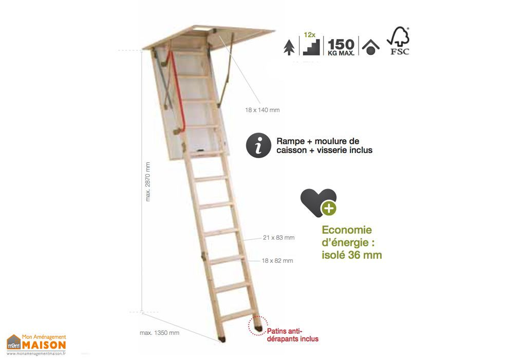 Escalier Escamotable Bois Isolé 36 mm TIMBERLEX30