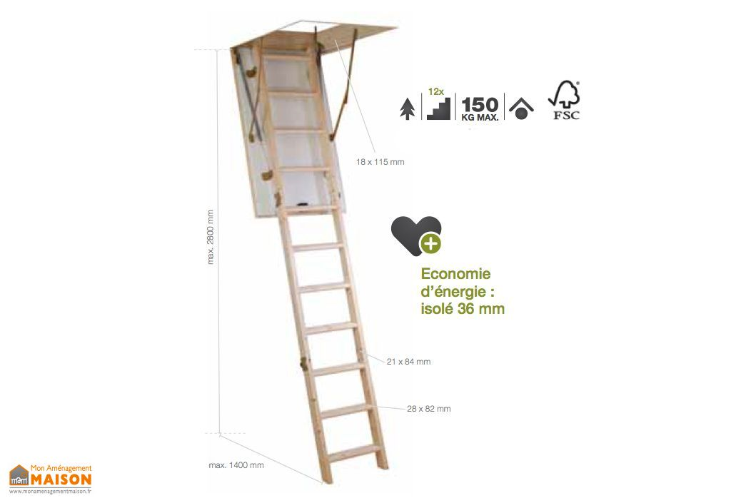 Escalier Escamotable Bois Isolé 36 mm ISOMAX