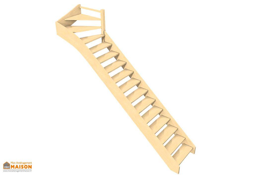 Escalier quart tournant haut en hêtre, chêne ou sapin Oléa