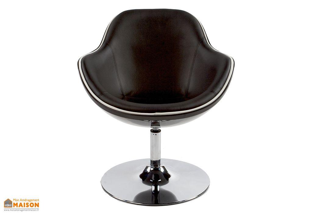 Fauteuil Lounge Kokoon Design Daytona Noir Vue de Face