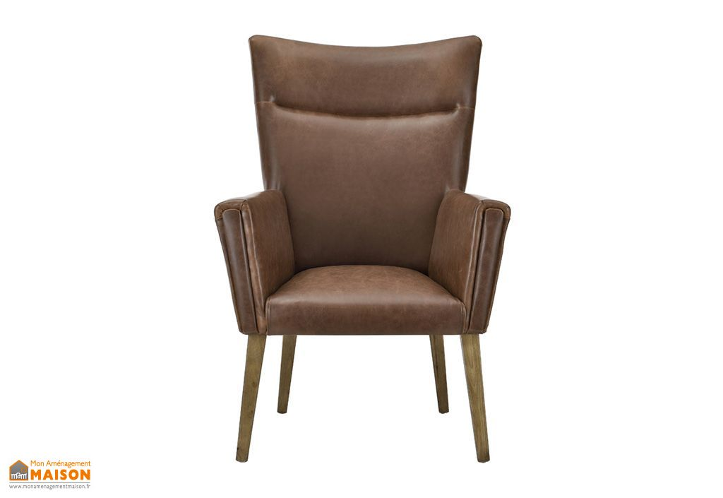 fauteuil r tro en simili cuir chocolat sinatra remarquable. Black Bedroom Furniture Sets. Home Design Ideas