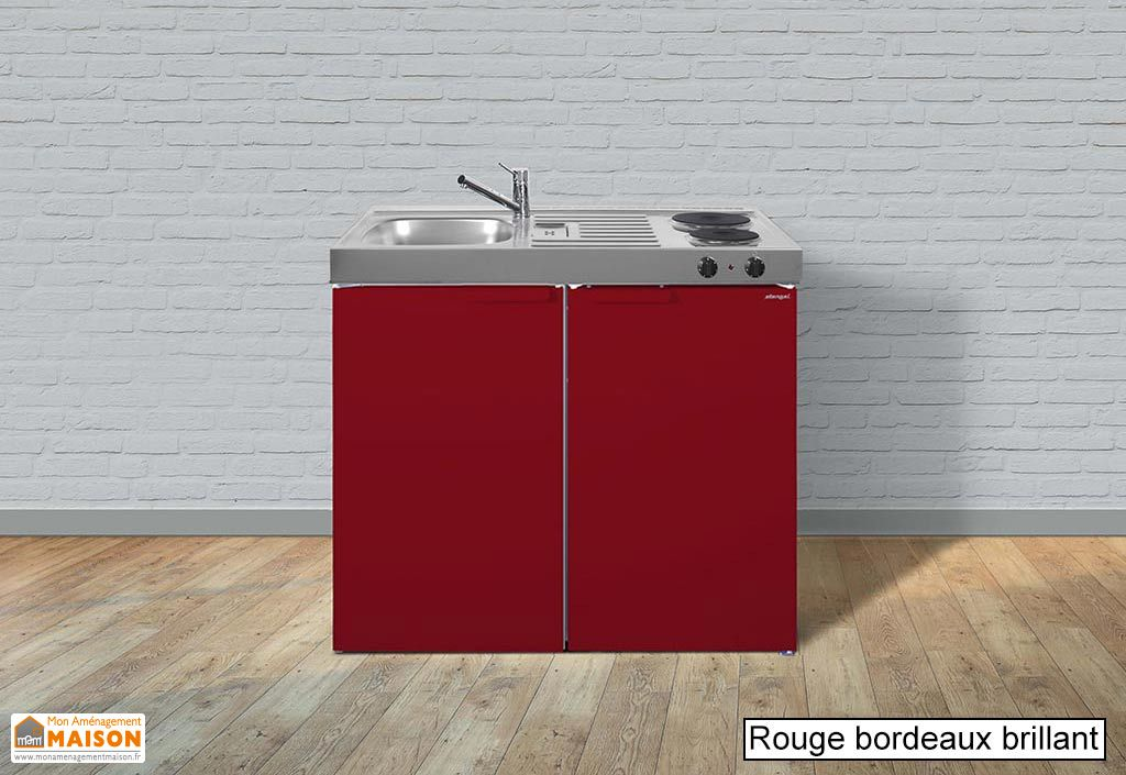 Kitchenette pour studio rouge moderne avec frigo
