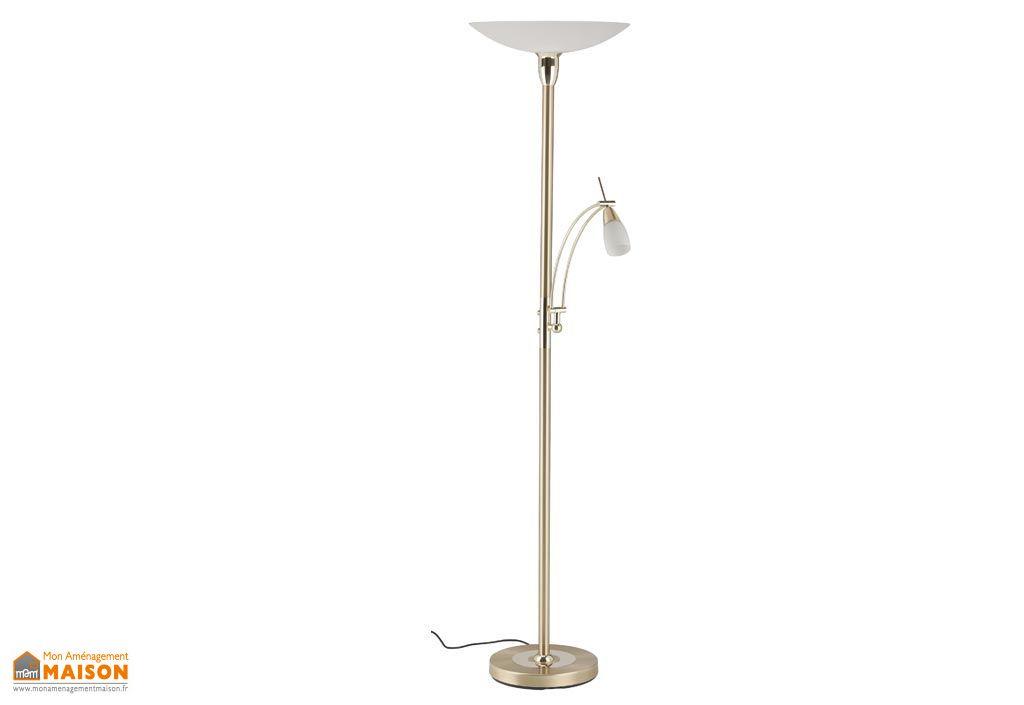 Lampadaire LED avec Liseuse Brass Laiton Poli