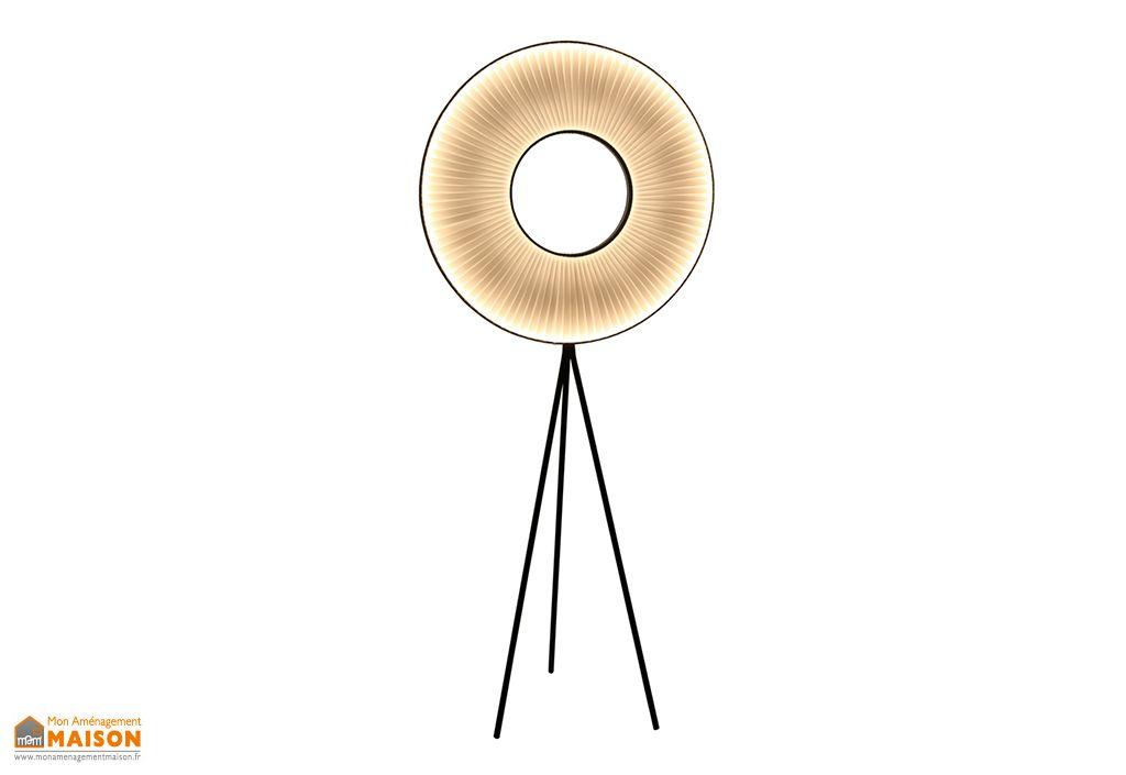 Lampadaire LED en Métal avec Abat-Jour en Ruban Dix Heures Dix Iris