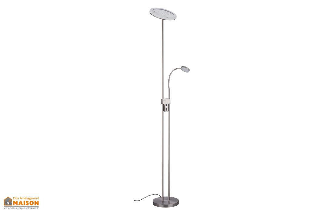 Lampadaire LED avec Liseuse Bacio Rond Nickel