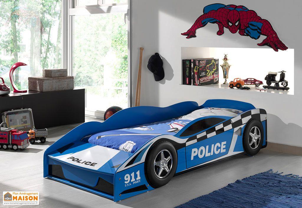 Lit enfant voiture de police en bois bleu Vipack 70 x 140 cm