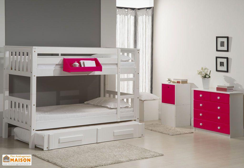 Chambre compl te lits superpos s gigogne commode - Lit superpose avec lit gigogne ...