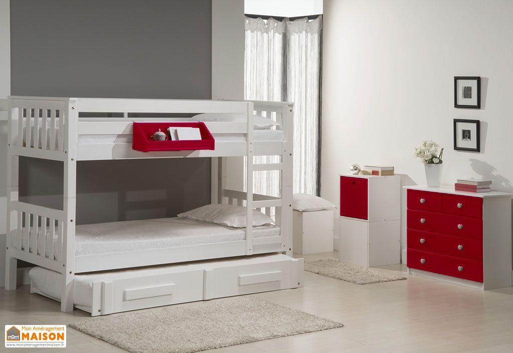 chambre compl te lits superpos s gigogne commode. Black Bedroom Furniture Sets. Home Design Ideas