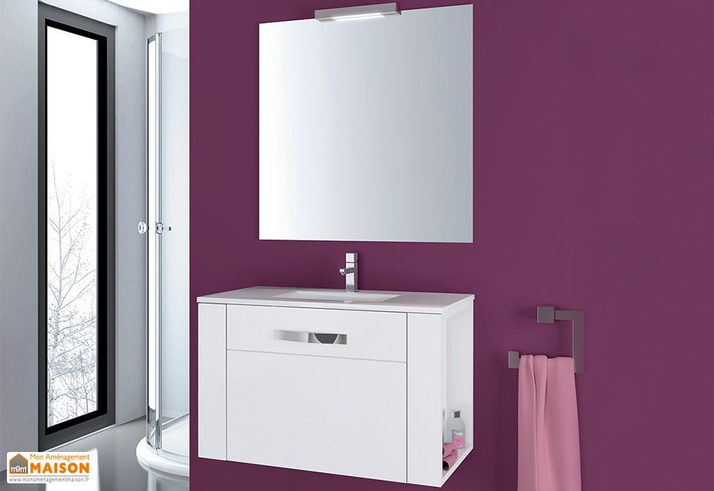 Meuble de salle de bain suspendu avec vasque miroir spot for Spot miroir salle de bain