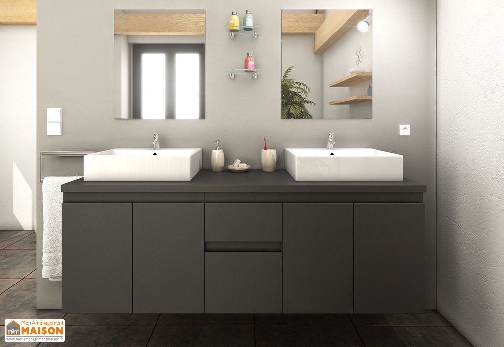 Meuble double vasque de salle de bain en bois gris