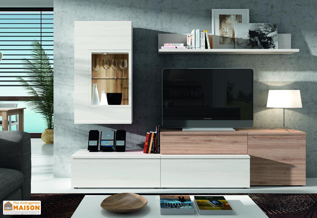 Ensemble meuble tv mural amsterdam 2 coloris for Ensemble meuble