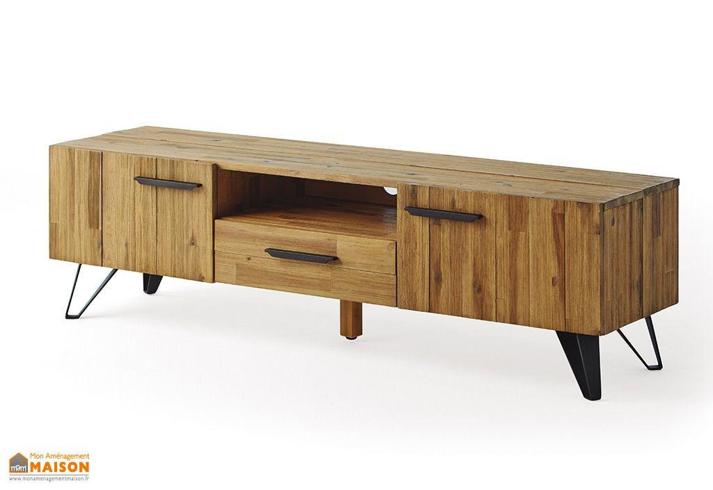 meuble TV en bois 160 cm Acacia avec 1 tiroir et 2 portes