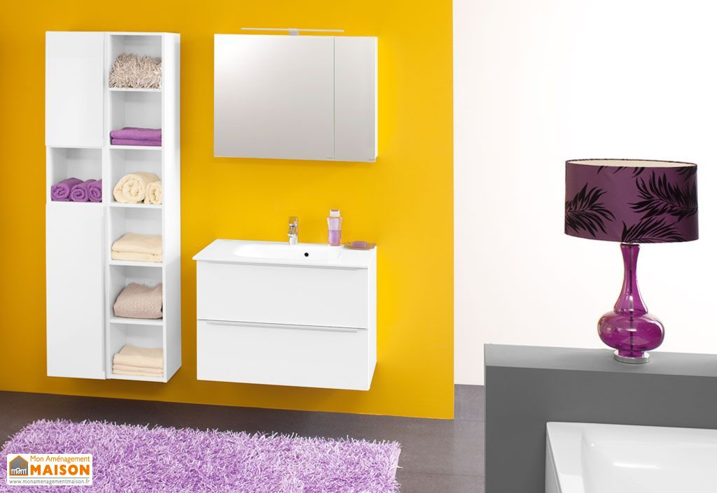 Meuble de Salle de Bain avec Plan de Toilette en Kerrock Zena 80