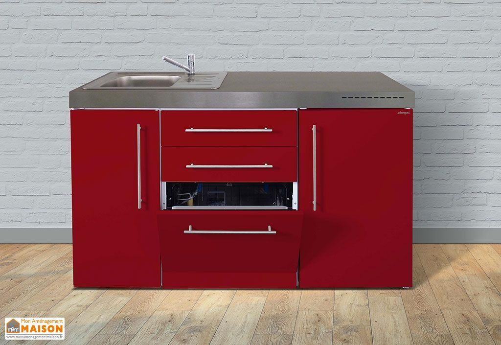 kitchenette rouge moderne avec électroménager