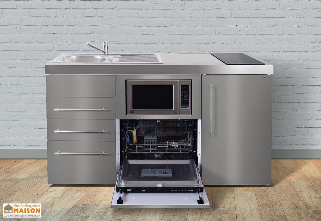 mini cuisine en inox avec frigo l v m o induction mpgsmses3 160 stengel. Black Bedroom Furniture Sets. Home Design Ideas