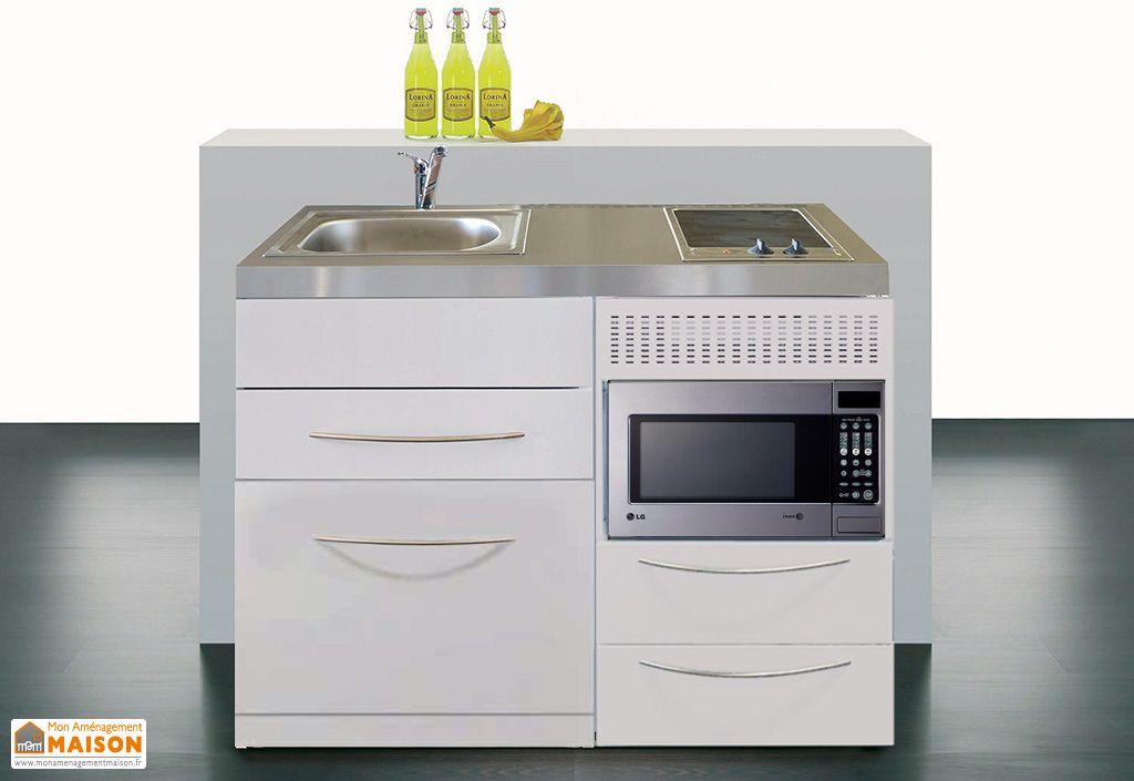 Mini cuisine avec l v micro ondes et plaques vitroc ramiques 120cm stengel - Mini cuisine equipee ...