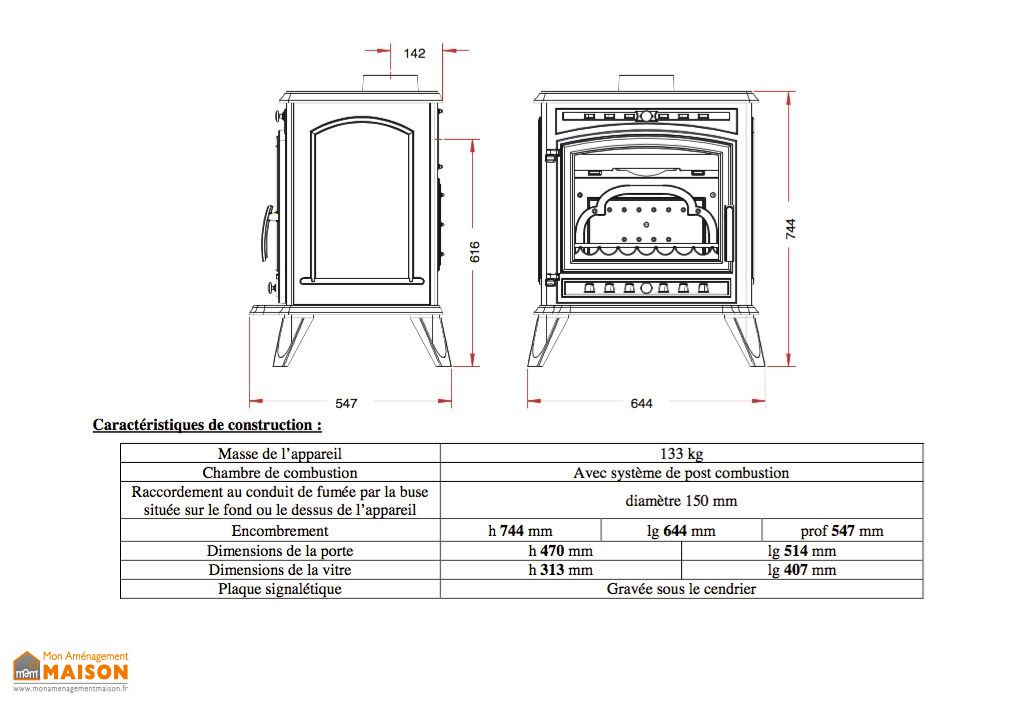 po le bois en fonte double combustion altea 8 kw invicta. Black Bedroom Furniture Sets. Home Design Ideas