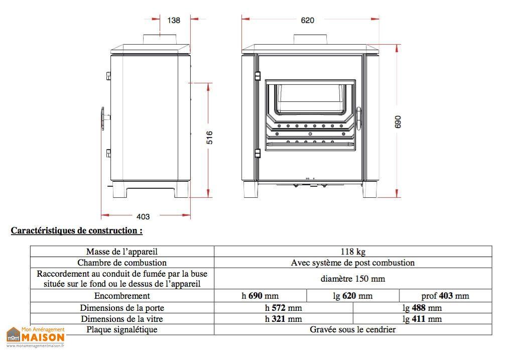 po le bois en fonte double combustion carolo 8 kw invicta. Black Bedroom Furniture Sets. Home Design Ideas