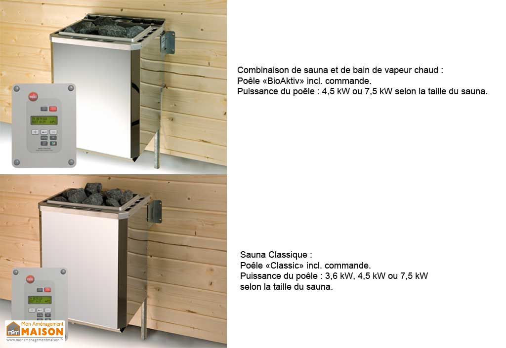 Sauna Finlandais 68 mm Fintura 1 + Poêle 230 V