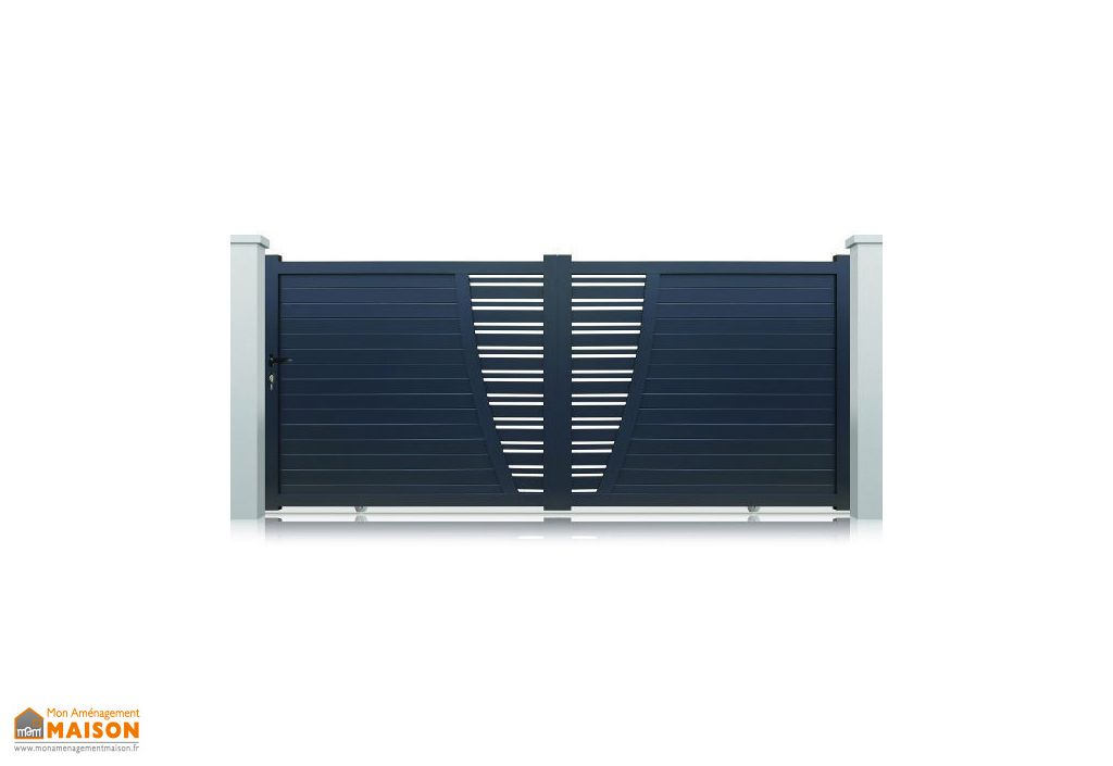 portail aluminium coulissant new york h 1 70 m gris pls. Black Bedroom Furniture Sets. Home Design Ideas