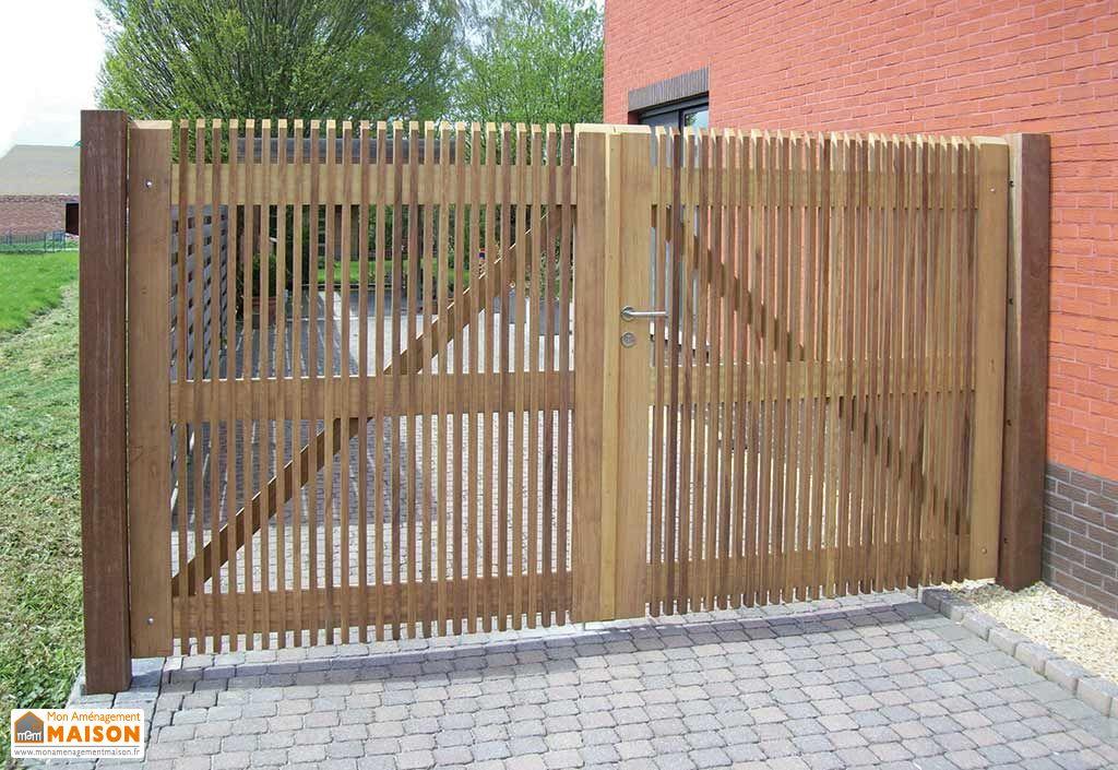 Portail Double Battant en Iroko Prado – 300 x 180 cm