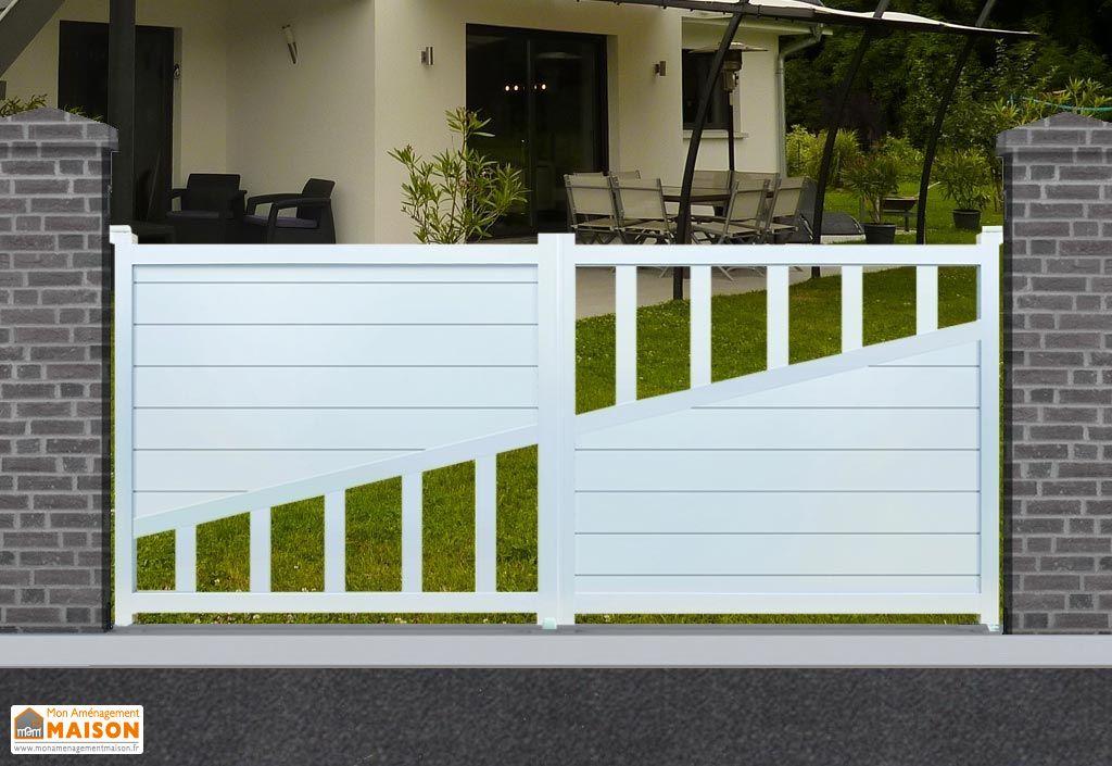 portail battant motorisé en aluminium peint en blanc RAL 9016