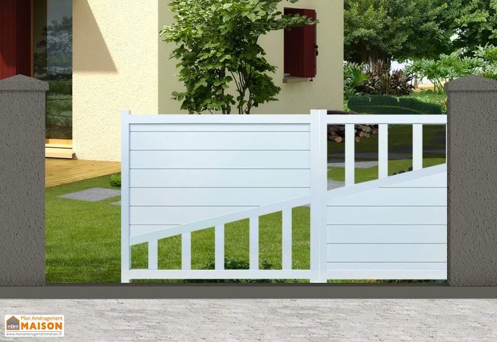 portail aluminium coulissant motoris houston h 1 60 m blanc pls dim nfi. Black Bedroom Furniture Sets. Home Design Ideas