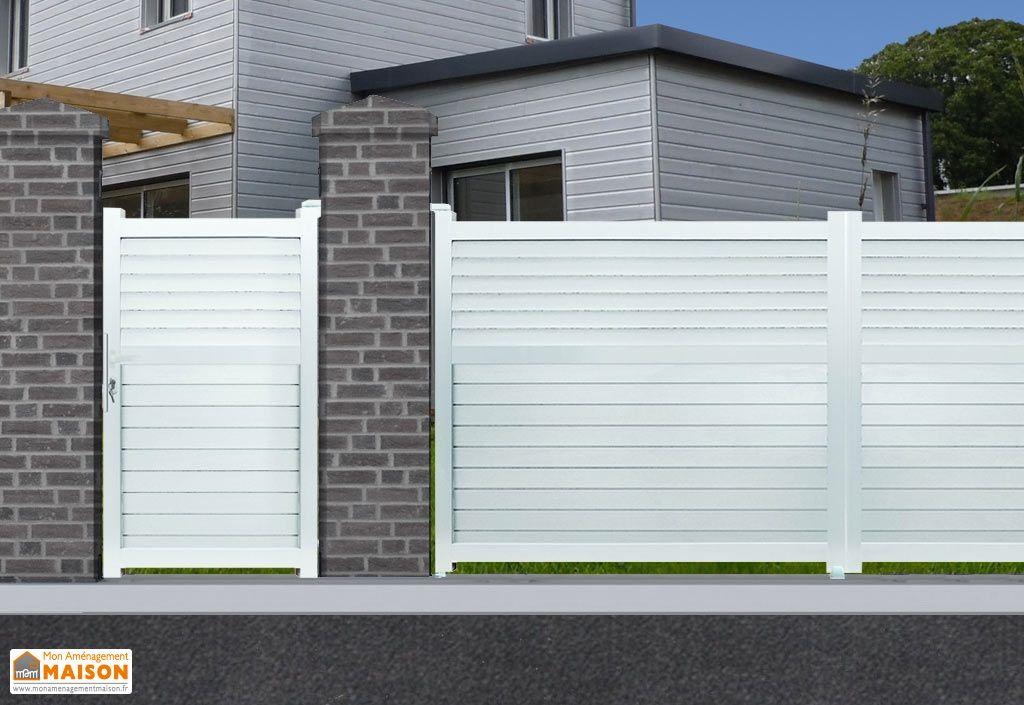 portillon aluminium battant d troit h 1 80 m blanc nfi. Black Bedroom Furniture Sets. Home Design Ideas