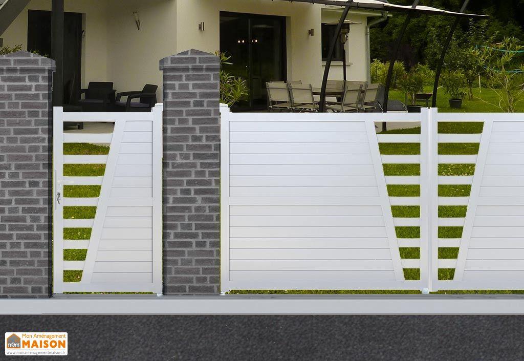 portillon aluminium battant los angeles h 1 70 m blanc nfi. Black Bedroom Furniture Sets. Home Design Ideas
