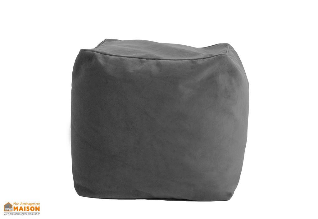 Repose Pieds pouf design Polyester Pablo Velvet onyx