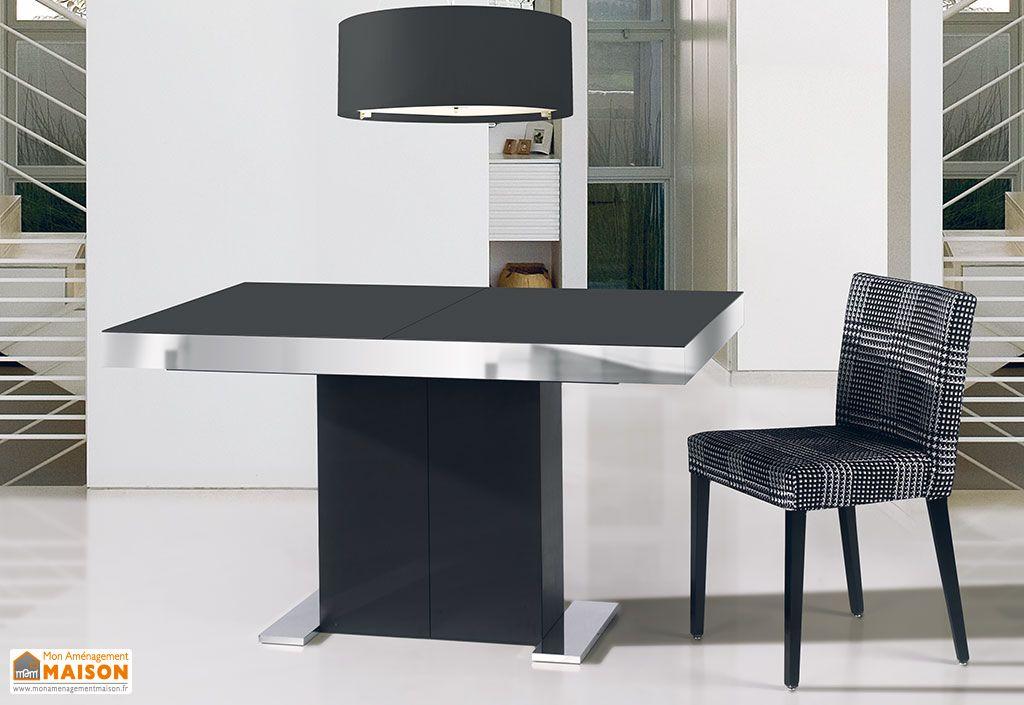 salle manger en pin recouvert d 39 acier et de verre table extensible salle manger en pin. Black Bedroom Furniture Sets. Home Design Ideas