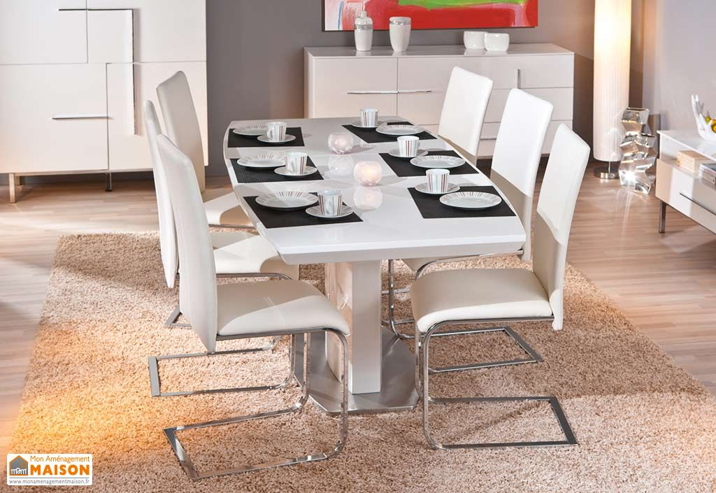 Salle a Manger : Table Extensible Winnipeg 160/200x90 cm + 6 Chaises