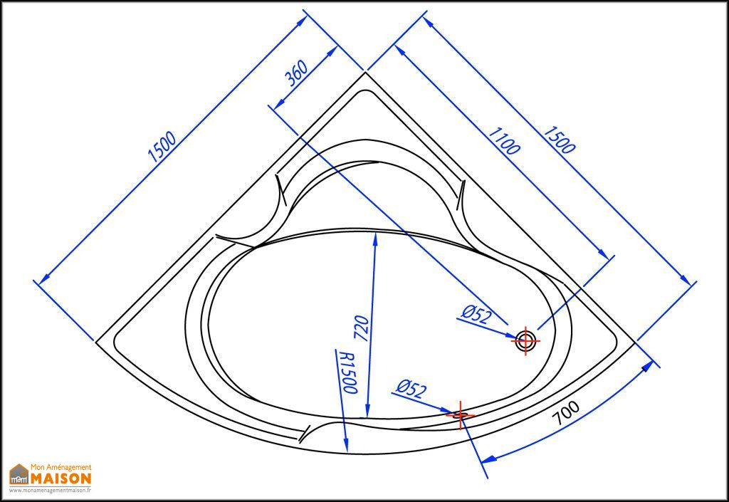 Baignoire d'Angle Acrylique 150x150 Alba