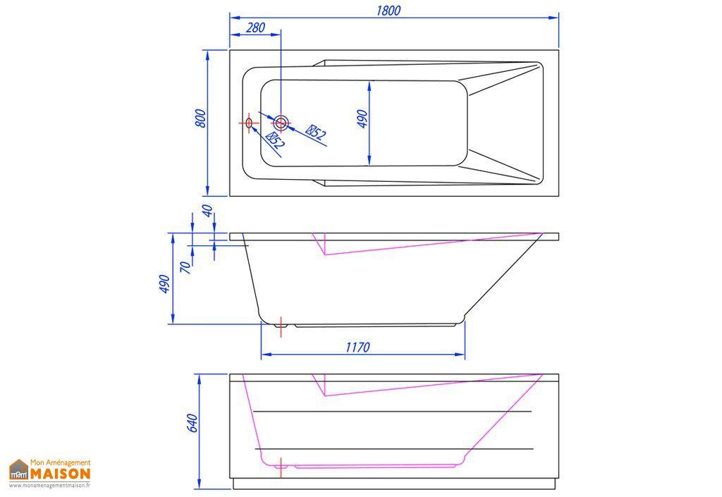 Baignoire Rectangulaire Acrylique Armida 180x80